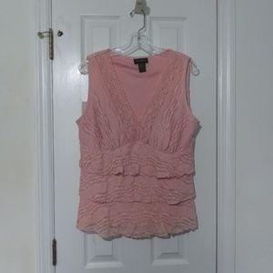 Lane Bryant sleeveless lace peach blouse